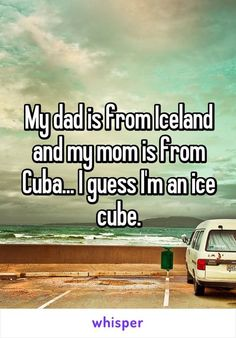 My dad is from Iceland and my mom is from Cuba… I guess I'm an ice cube. My father is from Iceland and my mother is from Cuba … I think I am an ice cube. Funny Shit, Really Funny Memes, Funny Puns, Funny Relatable Memes, Haha Funny, Funny Texts, Funny Stuff, Funny Things, Random Stuff