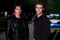 The Vampire Diaries . Ian Somerhalder and Paul Wesley as Damon and Stefan Salvatore Vampire Diaries Stefan, Vampire Diaries Seasons, Vampire Diaries Quotes, Vampire Diaries Cast, Vampire Diaries The Originals, Stefan Tvd, Damon Salvatore, Bonnie Bennett, Katherine Pierce