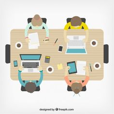 Business meeting in top view Free Vector Web Design, Flat Design, Persona Vector, Office Cartoon, Name Card Design, Blogging, Nature Drawing, Business Meeting, Advertising Agency