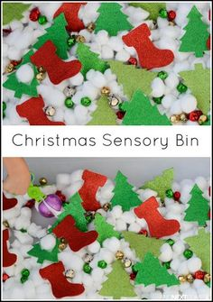 Easy Christmas sensory bin idea for kids. Can use cookie cutters to put cotton in Preschool Christmas Activities, Autism Activities, Toddler Preschool, Toddler Activities, Sensory Activities, Sensory Play, Sensory Diet, Winter Activities, Autism Resources
