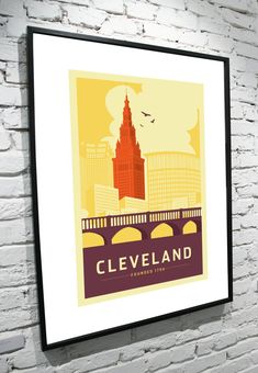 Cleveland Ohio Skyline 11x17 Poster by TamiBohnDesign on Etsy, $35.00