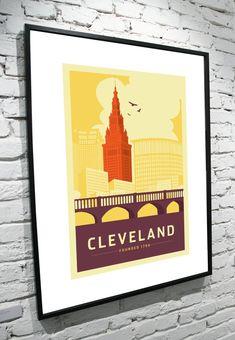 Cleveland Ohio Skyline 11x14 Poster by TamiBohnDesign on Etsy, $25.00