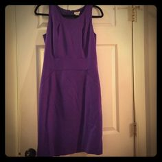 Jcrew royal purple sleeveless sheath dress Gorgeous royal purple wool dress. Front pockets, back zip. Wool with polyester lining. Great for work! J. Crew Dresses