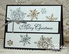 "Stampin' Up! ... handmade Christmas card from Stamping with Klass ... delicate snowflakes from Endless Wishes embossed in gold and silver ... ""Merry Christmas"" sentiment in in elegant calligraphy .... like it!"