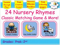 This classic matching game includes 48 game cards that will provide hours of FUN for your students. It also has quick printable pages of singing, rhyming, and learning. Theses Singing Nursery Rhyme Posters can be used for poetry books, charts, posters, musical form or other Fun activities for your classroom!