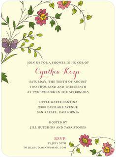 Wildflower Garden - Signature White Bridal Shower Invitations - Wiley Valentine - Yogurt - Neutral : Front