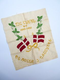 Embroidered Danish Flags For Happiness 1950s Memorial Silk Embroidery The Mules in Haulykke TIL Lykke De Muler I Haulykke  Vintage by JackpotJen on Etsy