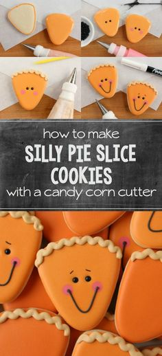 a simple candy corn cutter to make silly pie slice cookies for Thanksgiving! Instructions at Use a simple candy corn cutter to make silly pie slice cookies for Thanksgiving! Instructions at Thanksgiving Cookies, Fall Cookies, Cut Out Cookies, Iced Cookies, Cute Cookies, Royal Icing Cookies, Holiday Cookies, Cupcake Cookies, Pumpkin Sugar Cookies Decorated