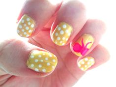 Yellow with Polka Dots and Pink Bow