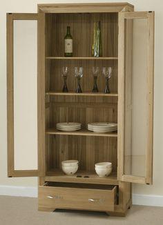 Bevel Natural Solid Oak Glazed Display Cabinet. Oak Furniture LandLight ...