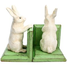 Cast Iron White Bunny Bookends (150 PLN) ❤ liked on Polyvore featuring home, home decor, small item storage, white bookends, bunny bookends, rabbit home decor, cast iron home decor and white book ends