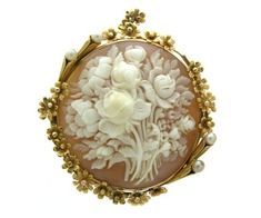 Late Victorian shell cameo brooch depicting bouquet of flowers, c. 1880.