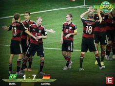 #VivaBrasil Alemania está en la final al eliminar a Brasil en el Estadio Mineirão. Brasil 1-7 Alemania #Mundial2014