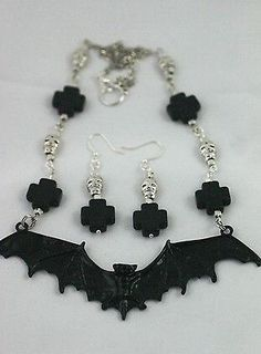 Enamel Bat Necklace & Earrings Set with Silver Skulls & Black Stone Crosses
