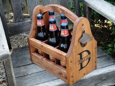 Wooden Beer Tote, Personalized Beer Tote, Handmade Beer Tote, Wood Beer Caddy, Valentine, Father's Day, Christmas, Birthday, Groomsmen Gift.