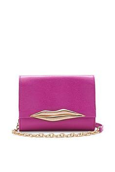 DVF | Lips Mini Embossed Lizard Bag In Pink Fuschia
