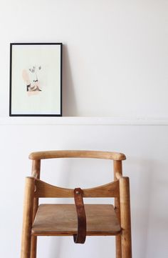 Retro wooden and leather children's high chair