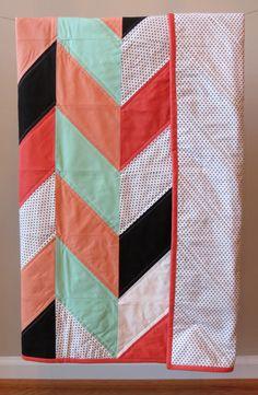 Baby quilt, toddler quilt - Modern. Mint, coral, black, white and polka dot herringbone.