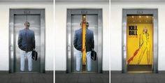 Creative use of empty space on elevator door and interior wall.