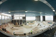 cool re-fit of a ymca style pool into a skatepark