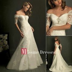 A-Line White Ivory Off Shoulder Lace Bridal Dresses Wedding Gowns