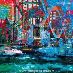 Margarita Kriebitzsch - Faszination Hamburg - Hafen, Elphi und Michel #kunst #kunstwerk #art Kunst Online, Times Square, Travel, Artworks, Places, Canvas, Viajes, Destinations, Traveling
