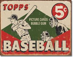 Topps 1955 Baseball Cards Child Play Rec Room Tin Sign - $7.88