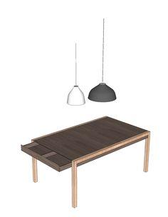 ALEJANDRO: Mesa de comedor y de trabajo con estructura a la vista en madera Amarillo o Cedro blanco y tablero en Triplex Okome o Teca .