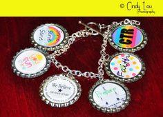 Faith in god bracelet - free bottlecap prints, very colorful