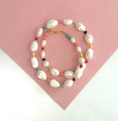 Baroque pearl necklace/pearl and Colourful beads necklace/Stylish Pearl necklace/Freshwaterpearl necklace/pearl collar necklace/multicolour by Pearlsbymimmi on Etsy Collar Necklace, Beaded Necklace, Beaded Bracelets, Necklaces, Baroque Pearl Necklace, Baroque Pearls, Different Shapes, Seed Beads, Stylish