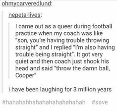This is probably fake but I found it funny<<<it's probably not fake because we tend to make a lot of gay jokes and out ourselves that way>>>actually true >>> yep I think this is real Stupid Funny, Funny Cute, The Funny, Hilarious, Funny Stuff, Random Stuff, Lgbt Memes, Funny Memes, Funny Tweets