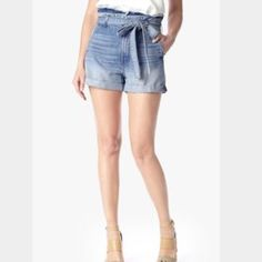 Denim Rules by TRF/Zara high waist tie front short Denim rules by TRF high waisted tie front shorts. Like new Zara Shorts