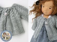 Knitting Patterns Cardigan Knitted cardigan for a doll Knitting Dolls Clothes, Knitted Dolls, Doll Clothes Patterns, Doll Patterns, Clothing Patterns, Crochet Dolls, Knitting Patterns, Baby Born Clothes, Knit Cardigan Pattern
