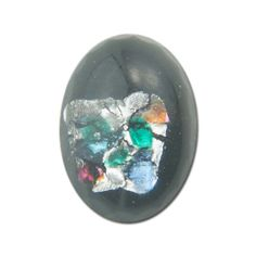 Center Foiled Glass Oval Cabochons