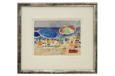 Watercolor painting of beach scene by Paul Collomb (1921-2010) in antique silver gilt wood frame.France, circa 1960