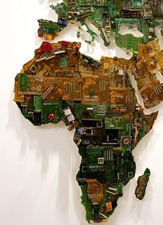 World Map Made from Recycled Computers by Susan Stockwell