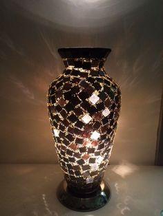 MIRRORED BLACK MOSAIC VASE TABLE LAMP, MIRRORED GLASS MOSAIC TILE VASE LAMP,