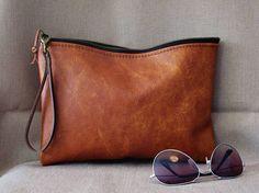 Cognac leather purse leather zipper pouch women purse