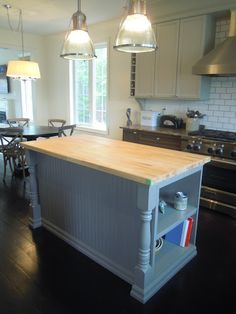 Kitchen Island Post kitchen island makeover | newel posts, moldings and cove f.c.