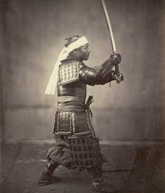 Samurai with Raised Sword; Felice Beato (English, born Italy, 1832 - 1909); Japan; 1863; Albumen silver print; 26.1 x 22.2 cm (10 1/4 x 8 3/4 in.); 2007.26.155; Partial gift from the Wilson Centre for Photography