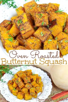 Oven Roasted Butternut Squash Cubes recipe - including how to cut and roast the squash from scratch. The BEST Butternut Squash recipes -healthy, easy, and simple with garlic and savory spices like rosemary and thyme. Vegan, Vegetarian, Gluten Free, Whole 30, Keto / Running in a Skirt #vegan