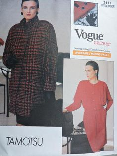 Vogue 2111 PATTERN includes instructions and pattern to create the shown ensemble of blouse, skirt and jacket from designer Tamotsu. The pattern is for sizes 6 - 8 - Cool Patterns, Stitch Patterns, Fashion Patterns, Costume Patterns, Blouse And Skirt, Career, Vogue, Lady, Womens Fashion