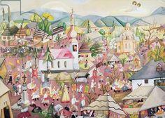 Lesznai Anna Art Deco Pattern, Anna, Fair Grounds, Houses, Patterns, Painting, Homes, Block Prints, Pattern