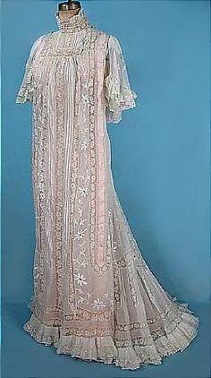 Belle époque, Lace Tea Dress over Pink Lining