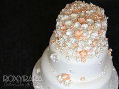 www.RoxyRara.com  Three tier summer wedding cake with handmade sugar blossoms.  To order your wedding cake, email: cake@roxyrara.com