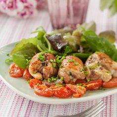 Örtfylld kycklinglårfilé med tomat & vitt vin