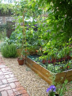 Brick and pea gravel in this potager garden