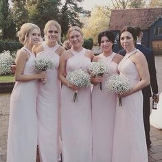 Blushing bridesmaids in Blush After Six gowns and delicate bouquets.  Style 6716, photo via @thebridesmaidboutique