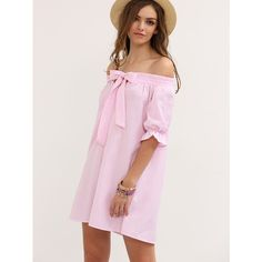SheIn(sheinside) Pink Striped Bow Off The Shoulder Shift Dress ($13) ❤ liked on Polyvore featuring dresses, short pink dress, pink off shoulder dress, half sleeve dresses, long-sleeve shift dresses and short sleeve dress