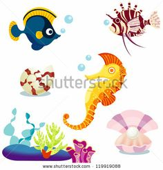 stock vector : Set of the  cartoon fishes  Lion Fish